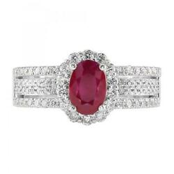 Coupe Ovale 1.80 Ct Vrai Diamant Rubis Gemstone Ring 14k Or Blanc 5 6 7 8
