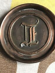 """Set Of 7 Copper Coasters With Letter """"l""""by L.e. Mason And Co."""