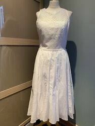 Rebecca Taylor White Sleeveless Cotton Broderie Anglaise Summer Dress Size 12