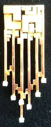 Mid-century Modern Design 14k Gold And 7 Diamond Clip-over Weighing 16 Grams