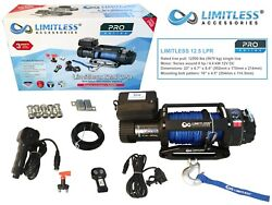 Limitless® Pro Lpr 12.5 Electric Recovery Winch 12v 12500lb Synthetic Rope