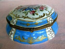 Sevres Antique Porcelain Jewelry Or Cuff And Collar Box...signed...bargain