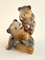 Vintage Bears Mom Mother And Cub Baby Salt And Pepper Shakers Japan  Fw28