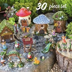 Whimsical Fairy Gnome Garden 30 Piece Set New Free Shipping