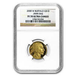 2008-w 1/4 Oz Proof Gold Buffalo Pf-70 Ngc - Sku 61347
