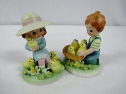 Pair Lefton Figurines 6175 Boy and Girl Playing with Baby Chicks