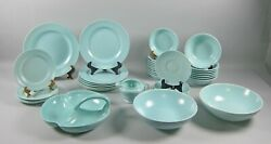 35pc Lot Of Franciscan El Patio-turquoise Matte Dinnerware And Serving Pieces