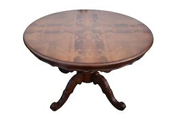 Vintage Round Italian Carved And Inlaid Center Hall Table