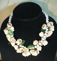 Vintage Molded Shell Bead Flower Green Plastic Leaves 18 Necklace Hong Kong