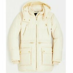 J Crew Womenand039s Chateau Puffer Parka Coat With Primaloft Cream M Nwt