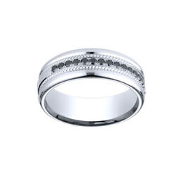 0.33cttw Natural Diamond Wedding Band Ring 18k White Gold Comfort-fit 7.5mm Sz 7