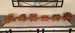 Vintage Rustic Handmade Six 6 Piece Wooden Train Set Natural Wood Carved