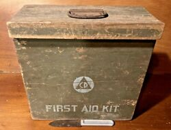 Antique Civil Defense First Aid Kit Nested Wood Boxes + U.s.1917 L.f.andc. Knife