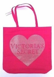VICTORIAS SECRET PINK SEQUIN HEART CANVAS TOTE SHOPPING BEACH BAG $11.21