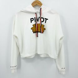 Friends Women's L Pivot Couch Sofa White Cropped Graphic Sweatshirt Hoodie Top