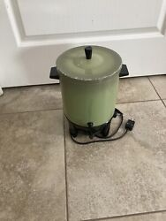 Vintage West Bend Avocado Olive 3417 Electric 12-25 Cup Automatic Percolator
