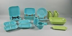 23pc Lot Of Franciscan El Patio-glossy Chartreuse And Turquoise Dinnerware+