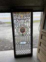 Mg 5 Antique Stained Glass Landing Window 30 X 71.5