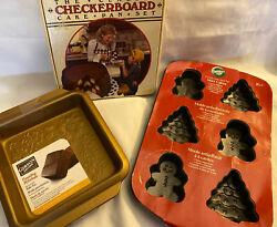 """4 New Pan Lot Christmas Tree Checkerboard Nonstick 8"""" Copper Coated Baking Cake"""