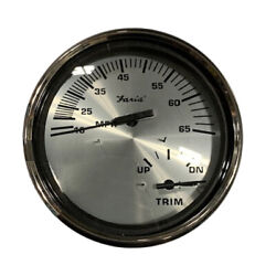 Faria Spun Silver 5 Multifunction 2 In 1 Combination Gauge W/speed And Trim Gauge