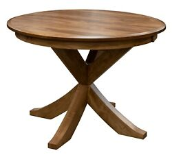 Amish Round Transitional Single Pedestal Dining Table X Base Solid Wood 4854