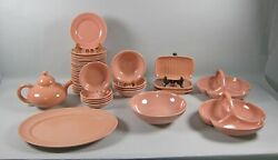 46pc Lot Of Franciscan El Patio-glossy Coral Dinnerware And Serving Pieces