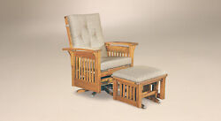 Amish Mission Arts And Crafts Accent Chair Bow Arm Slat Glider Swivel Solid Wood