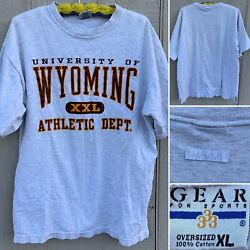 Vintage University Of Wyoming Xxl Athletic Dept T-shirt Oversized Xl Made In Usa