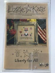 """Lizzie Kate Cross Stitch """"Liberty for All"""" Pattern NEW Old Stock with Charms $9.99"""