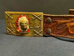 Vintage 1940s Solid Brass Indian Chief Belt Buckle With 31.5 Waist W/background
