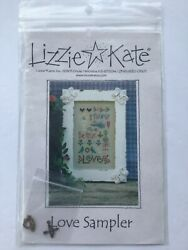 """Lizzie Kate Cross Stitch """"Love Sampler"""" Pattern NEW Old Stock with Charms $9.99"""
