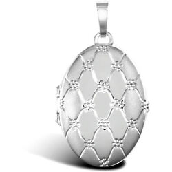 Jewelco London 9ct White Gold Quilted Daisy Oval 4 Picture Family Locket Pendant