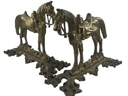 Antique Crowley And Co. Manchester Brass Horse Bookends