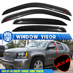 Fits 07-14 Chevy Tahoe Gmc Yukon Window Visors Vent Rain Guard Shade W/ Red 4x4