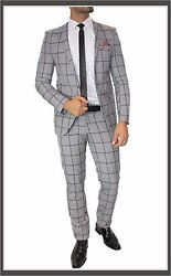 Fc Plus Suit Set Checked Fitted Dual Slot Shirt Tie Grey Checked 44