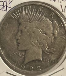 1922 D Peace Liberty Silver Dollar .900 Silver, Beautiful Coin.vf... In 2x2