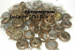 Lot Of 100 Pieces Brass Antique Sundial Push Button Compass Engraved ...