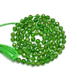 Chrome Diopside Semi Precious Gemstone 3mm-4mm Faceted Round Beads | 13 Strand