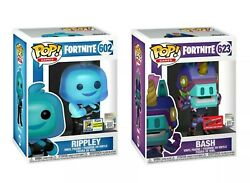 Funko Pop Fortnite Rippley 602 And Bash 623 Nycc Sdcc Exclusive With Flaws