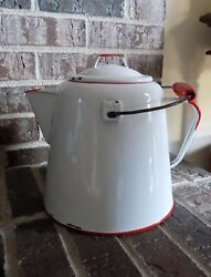 Vintage Red And White Enamelware Cowboy Coffee Pot With Wood Handle 10 X 8.5