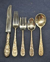 Forget Me Not Sterling Flatware Silver Set For 8 In Stieff Not Monogrammed
