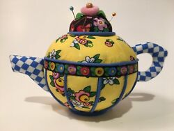 Mary Engelbreit Yellow Floral Teapot Pincushion New In Box