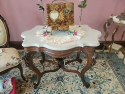 Antique American Victorian Parlor Table Marble Turtletop 37 X 27 X 28 T