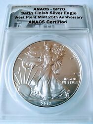 2013-w Burnished Silver Eagle Anacs Sp70 Wp Mint 25th Anniversary