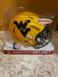 Rare Riddell West Virginia Mountaineers 2014 Gold-matted Speed Mini-helmet