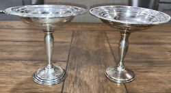 Pair Sterling Silver Weighted 6 Pedestal Compotes 428grams Fischer And Intl. Slv.