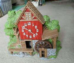 Spartus Windmill Water Wheel Mill House Clock Model No.