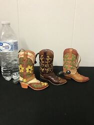 3 Western Cowboy Boots Decor Christmas Ornament Resin Or Glass Spurs 4.5andrdquotall