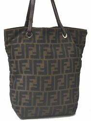 Authentic FENDI Zucca Hand Tote Bag Canvas Leather Brown C4636 $232.40