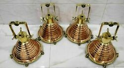 Nautical Marine Ship Copper And Solid Brass Spot Light Lot Of 4 Piece